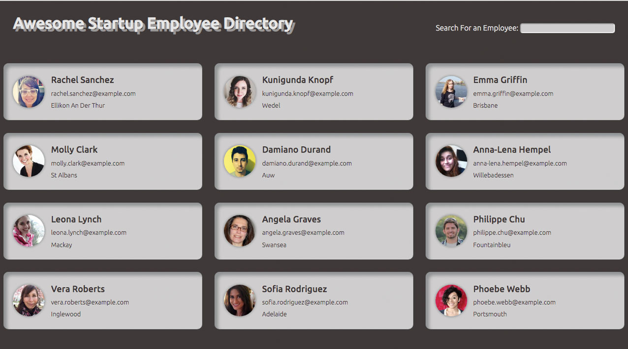 Screenshot of Employee Directory Project